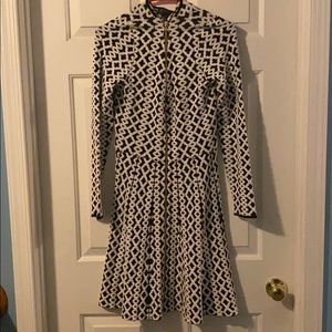 INC Front Zip Long Sleeve Black and White Dress